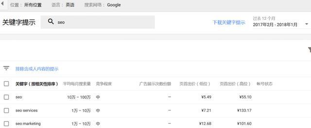 Google关键字规划师